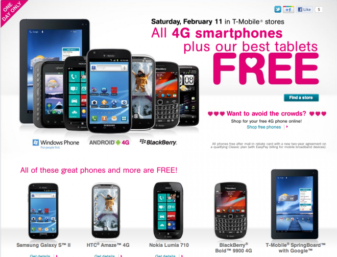 T-Mobile offers its whole 4G phone selection for free Feb. 11 to spread the  love - 9to5Google 018c9453c593