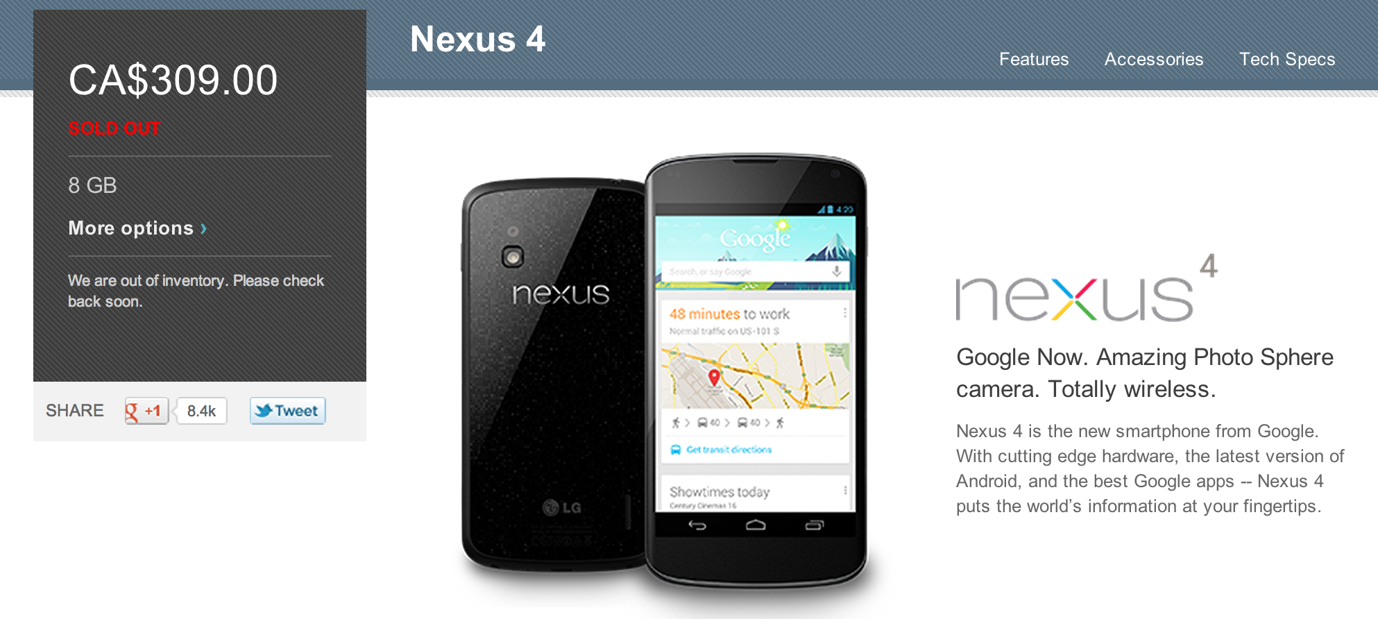 Nexus 4 sold out