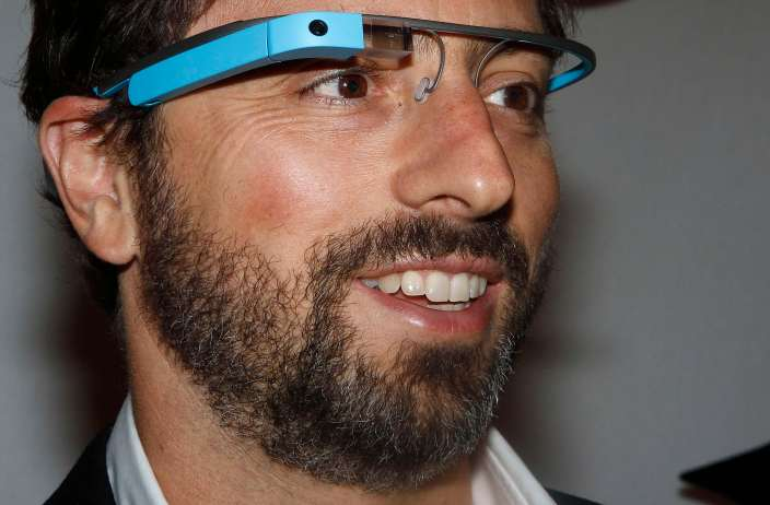 Google founder Sergey Brin poses for a portrait wearing Google Glass glasses before the Diane von Furstenberg  Spring/Summer 2013 collection show during New York Fashion Week