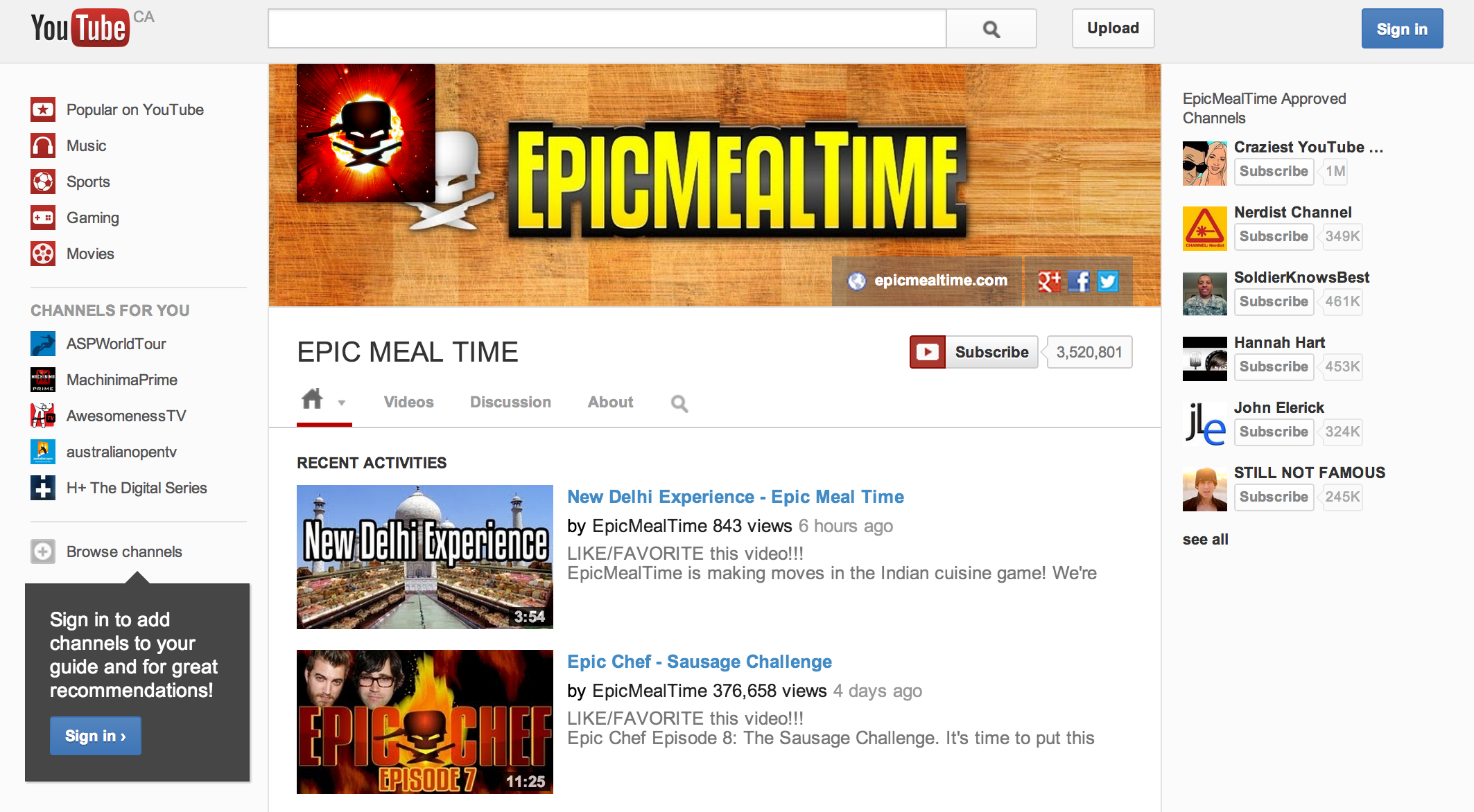 EpicMealTime-YouTubeOne-Channel-Design