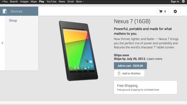 Google Play Nexus 7