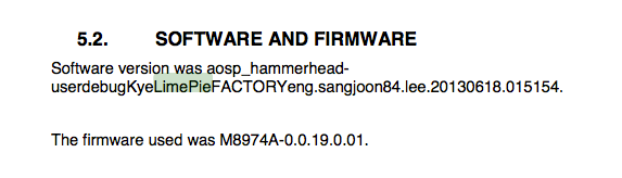 The firmware, suggesting a Snapdragon 800 processor