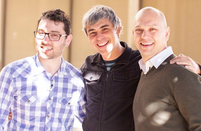 Google CEO Larry Page (centre) with Nest co-founders Matt Rogers amd Tony Fadell (photo: technologyreview.com)