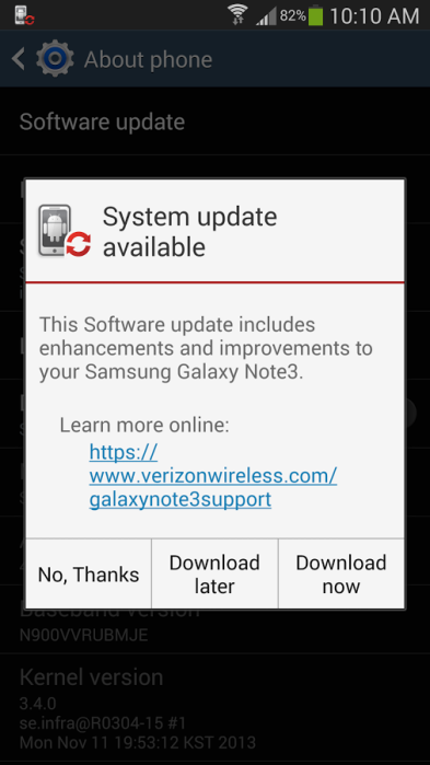 galaxy note 3 kitkat verizon