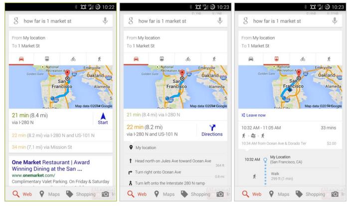 Google Search Navigation Cards