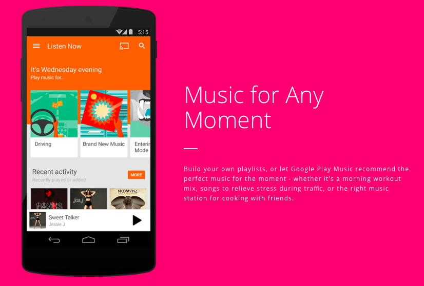 Google Play Music pink