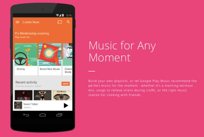 Google Play Music pink