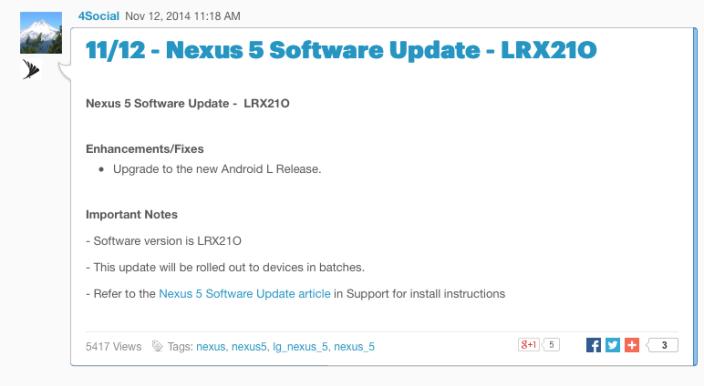 Sprint Community: 11:12 - Nexus 5 Software Update - LRX21O 2014-11-12 13-16-35