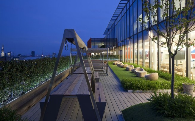 The roof terrace of Google's London HQ