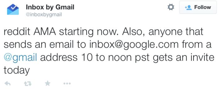 Inbox tweet