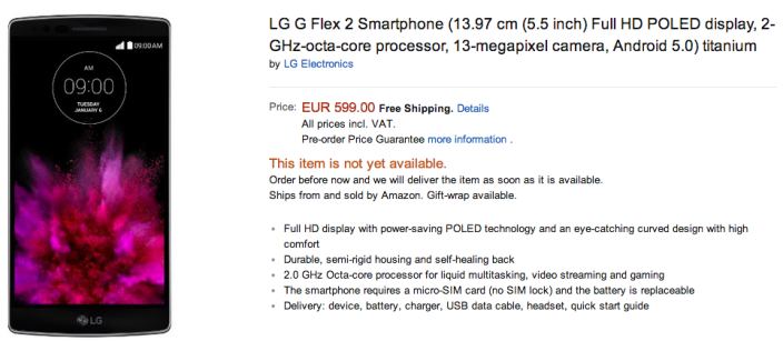 LG G Flex 2 Amazon Price