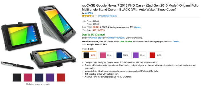 Amazon.com: rooCASE Google Nexus 7 2013 FHD Case - (2nd Gen 2013 Model) Origami Folio Multi-angle Stand Cover - BLACK (With Auto Wake : Sleep Cover): Computers & Accessories 2015-02-09 13-02-29