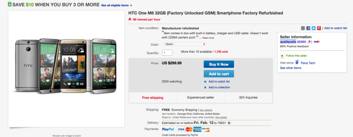 HTC One M8 32GB Factory Unlocked GSM Smartphone Factory Refurbished | eBay 2015-02-06 11-19-37