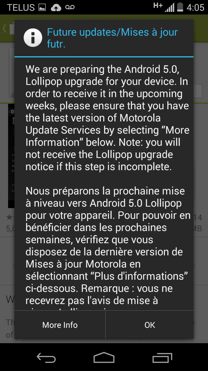 Moto G 1st gen Lollipop message