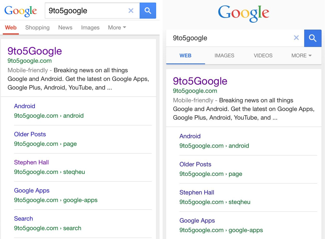 Google testing changes to its mobile search interface, Material Design tabs included