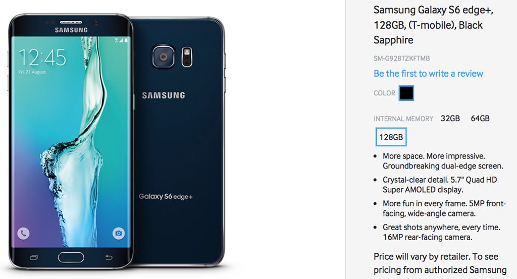 Samsung showing 128GB Samsung S6 Edge+ and Galaxy Note 5 on website (Update: was a mistake)