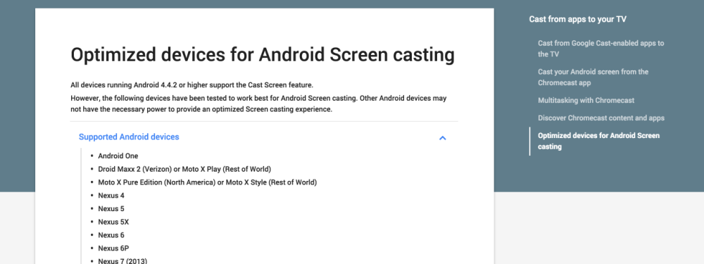 Optimized devices for Android Screen casting - Chromecast Help 2015-10-05 09-26-33