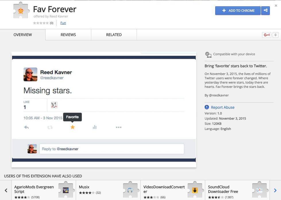 Chrome extension 'Fav Forever' brings Twitter's stars back