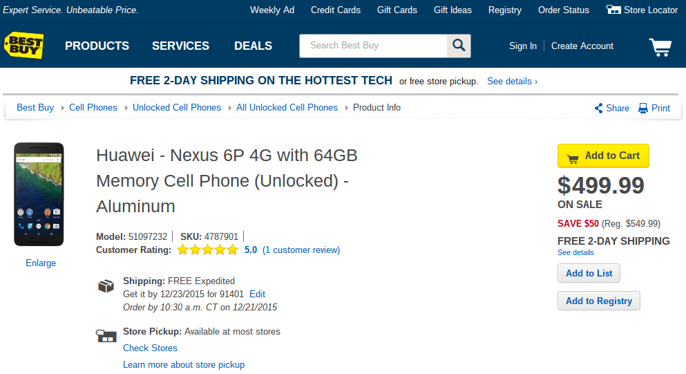 nexus 6p best buy