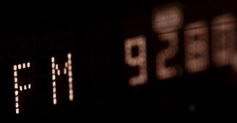 a VFD display on a digital FM radio tuner