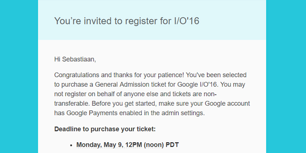 IO16 Late Tickets