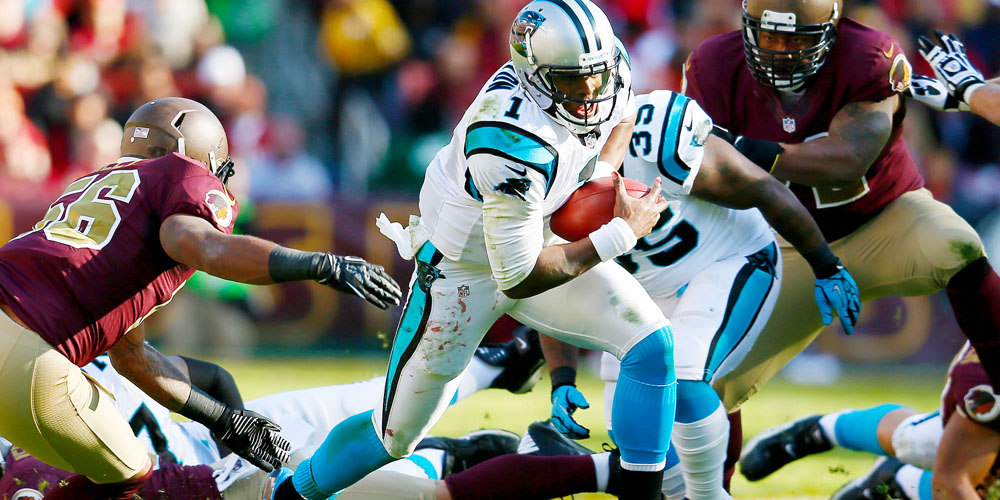LANDOVER, MD - NOVEMBER 04: Quarterback Cam Newton #1 of the Carolina Panthers rushes the ball against the Washington Redskins during the second quarter at FedExField on November 4, 2012 in Landover, Maryland. (Photo by Rob Carr/Getty Images)