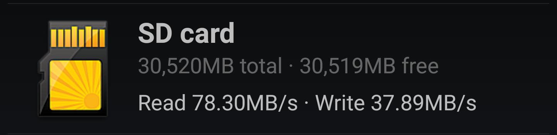 Samsung microSD A1 benchmark