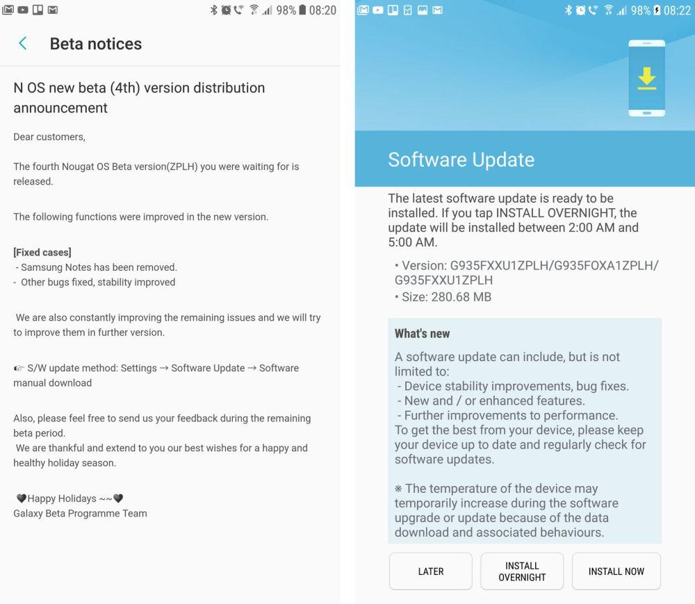 Galaxy S7 Nougat Beta Update