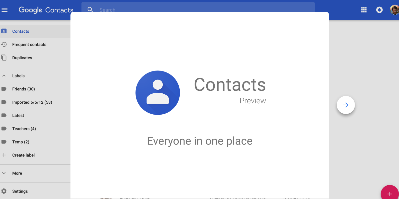Old Google Contacts will be deprecated next year as new design