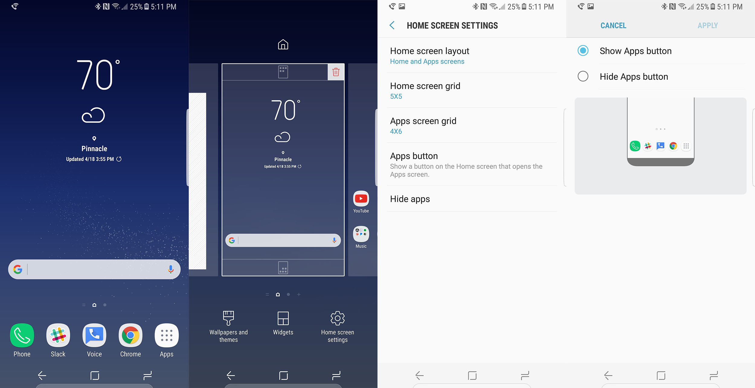 How to enable the app drawer button on the Galaxy S8