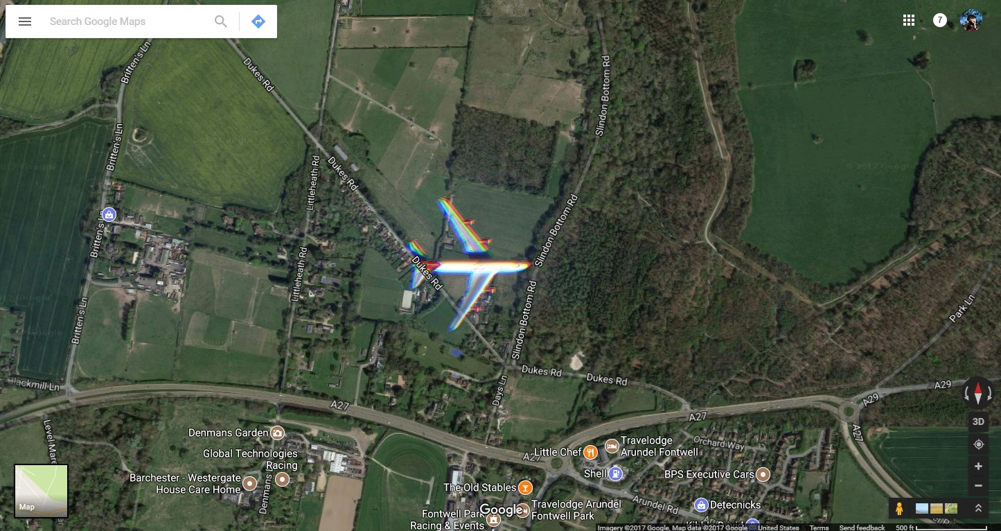Google Maps satellite imagery managed to snap an airliner flying south of London - 9to5Google