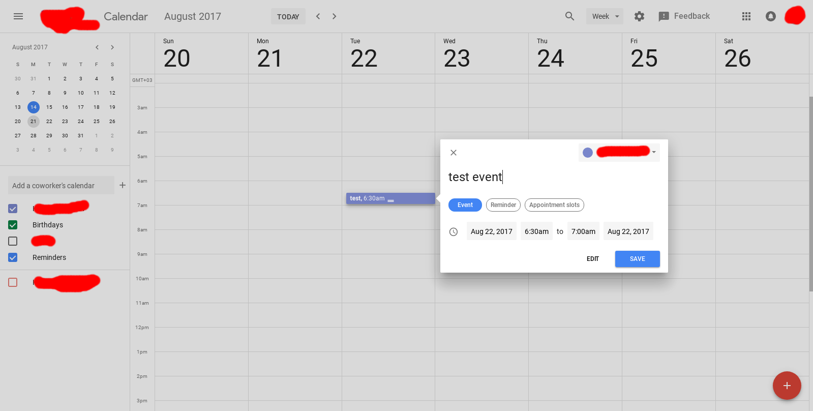 Material Design UI being tested with Google Calendar on