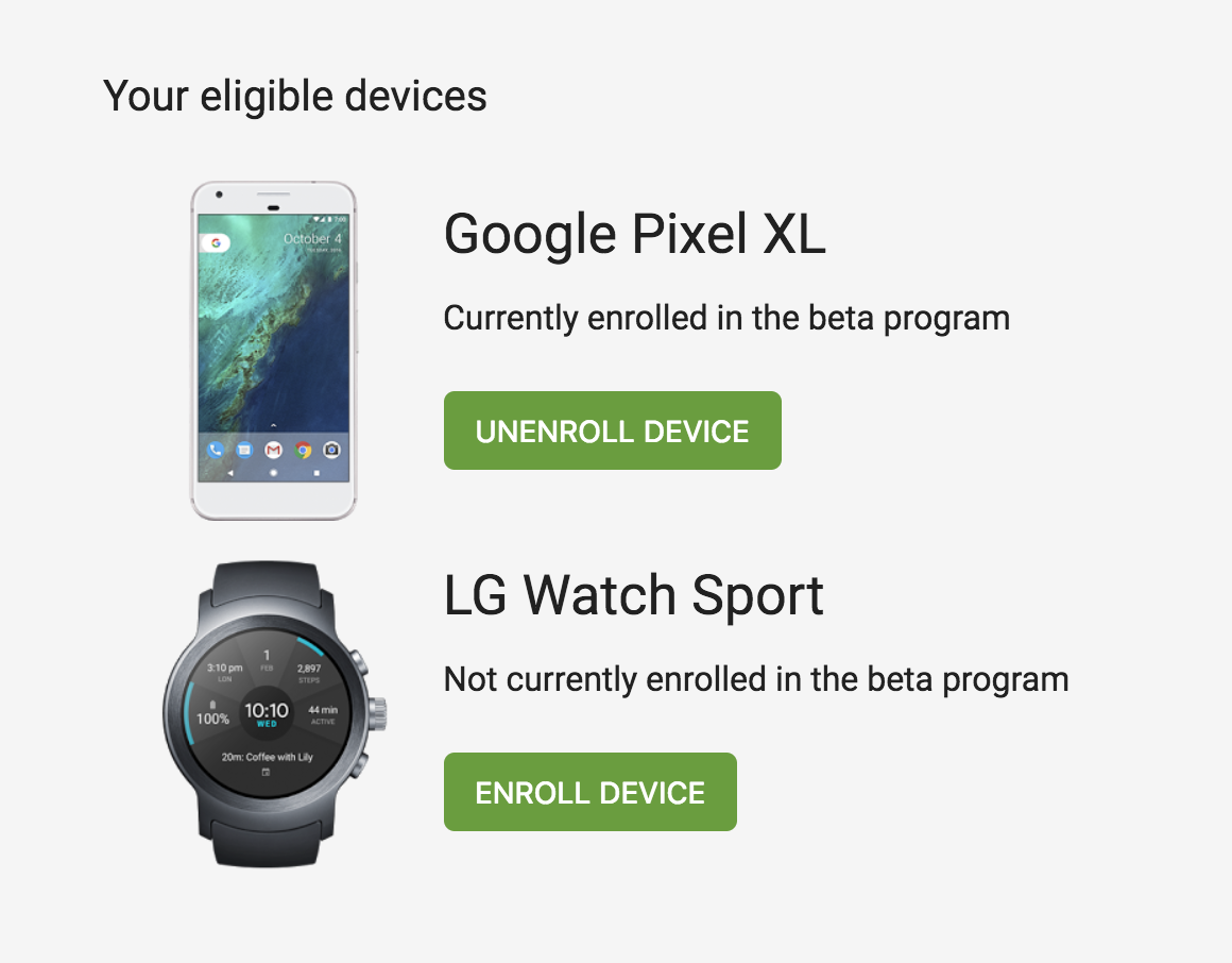 Android O Beta Android Wear