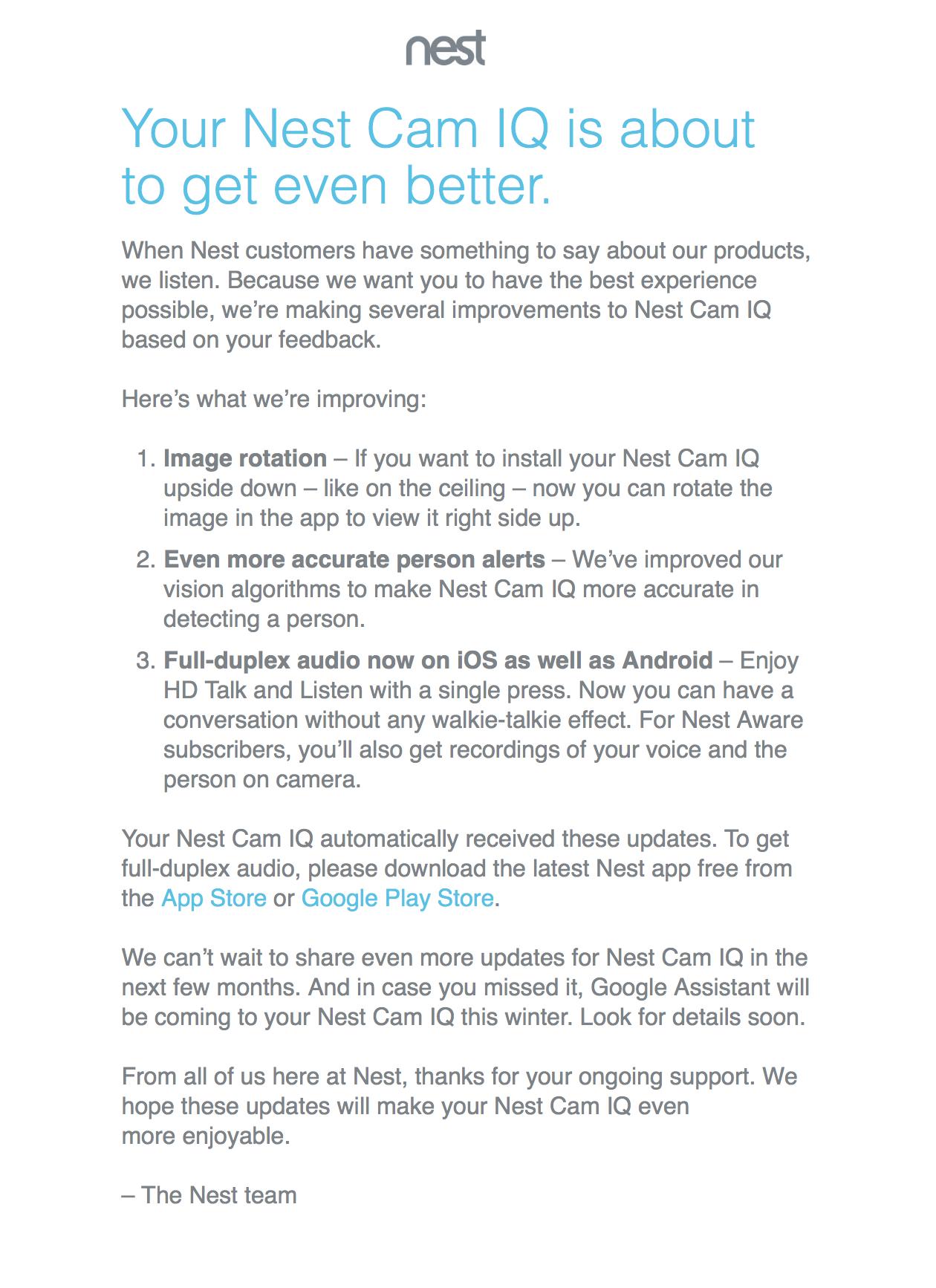 Nest Cam IQ Update Email