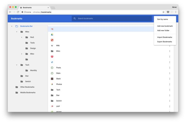 Chrome 63 revamps Bookmark Manager w/ Material Design on Mac