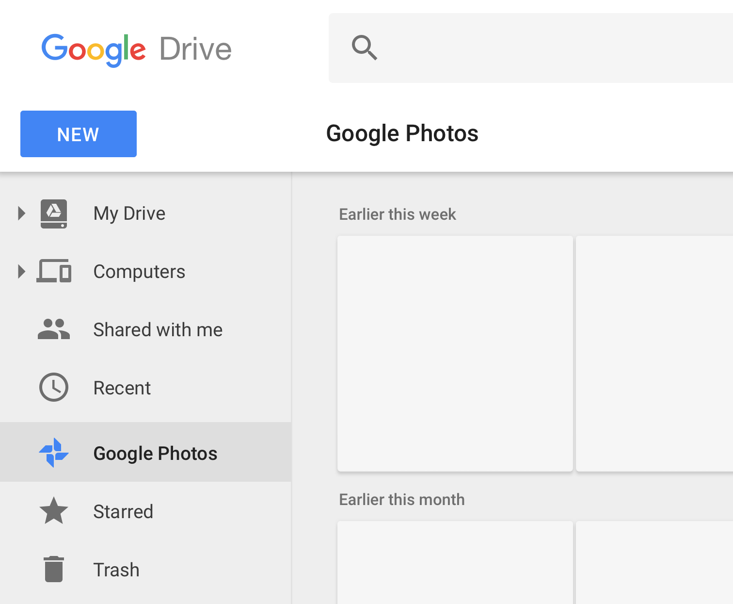 Google Drive removing 'Google Photos' tab from the nav