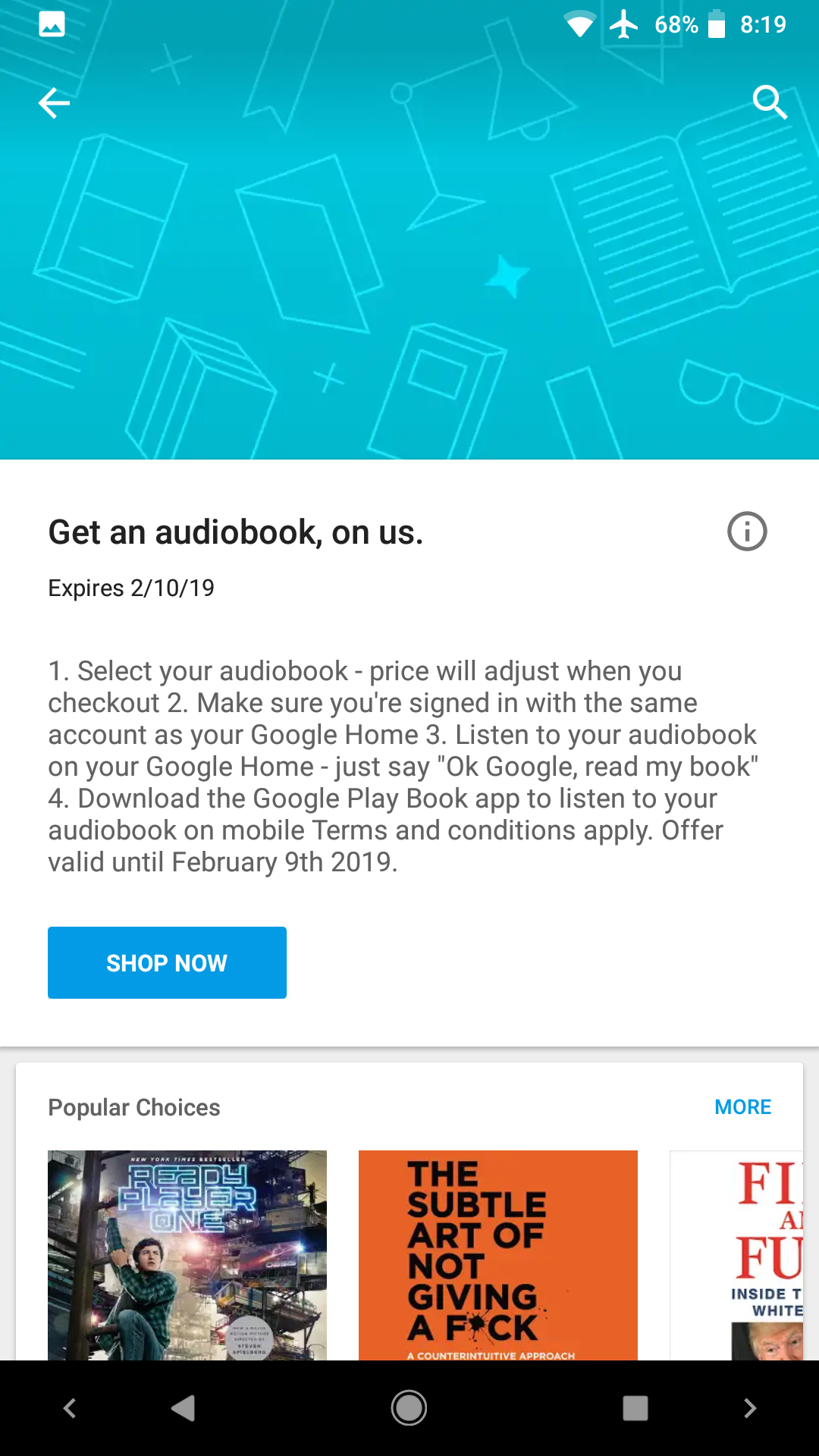 Some Google Home owners can redeem a free audiobook in Play Books