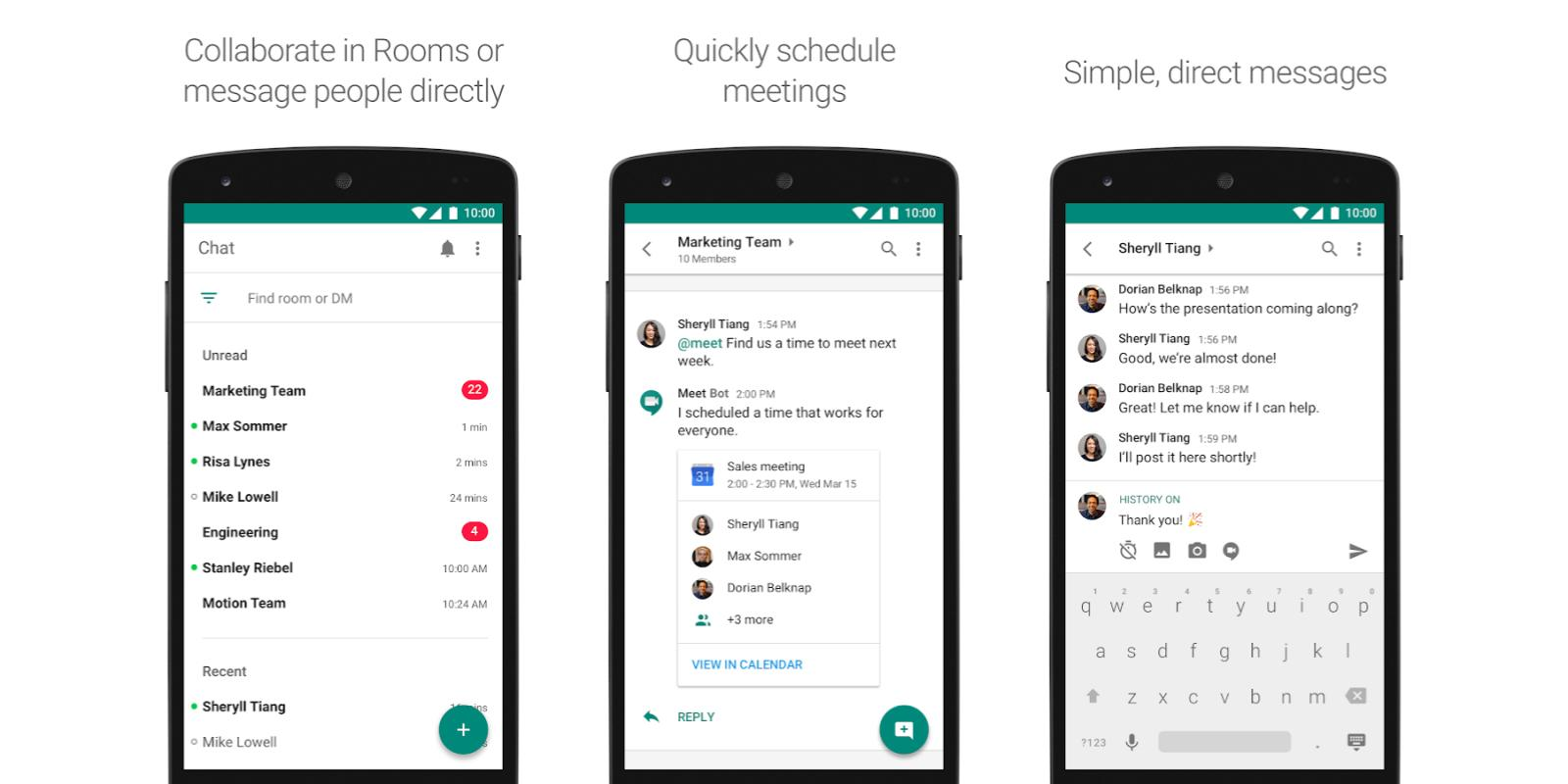 Hangouts Chat w/ bots and deep Google integration available today for all G Suite users