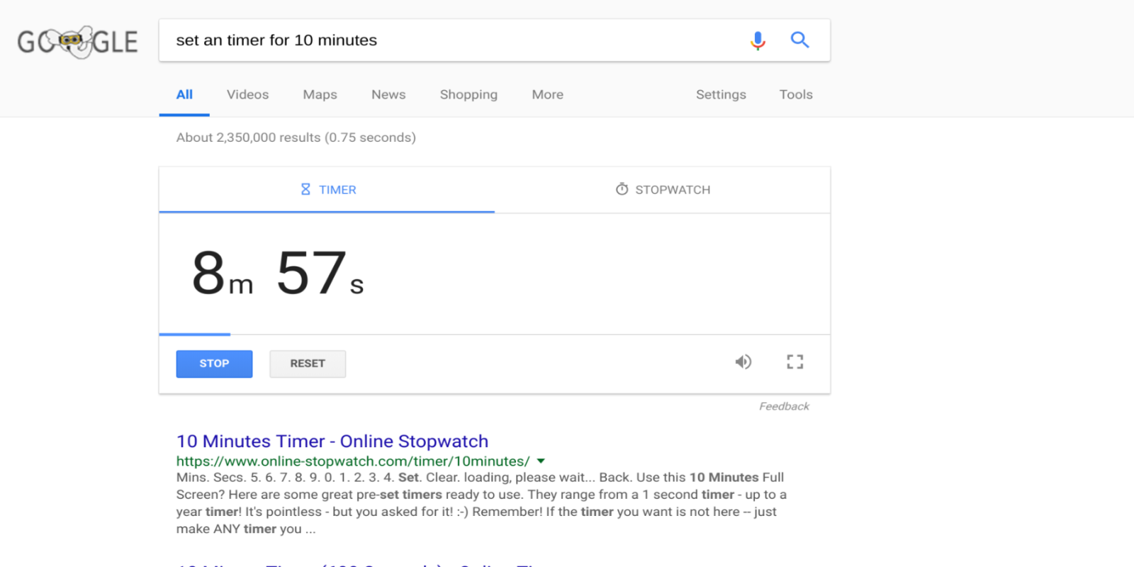 timer into Google search bar