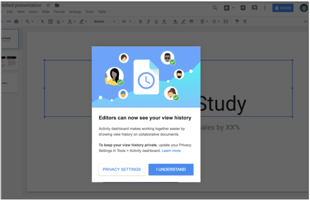 google docs sheets slides add activity dashboard w shared user