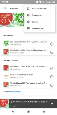 Google app's built-in podcast player adds offline downloading