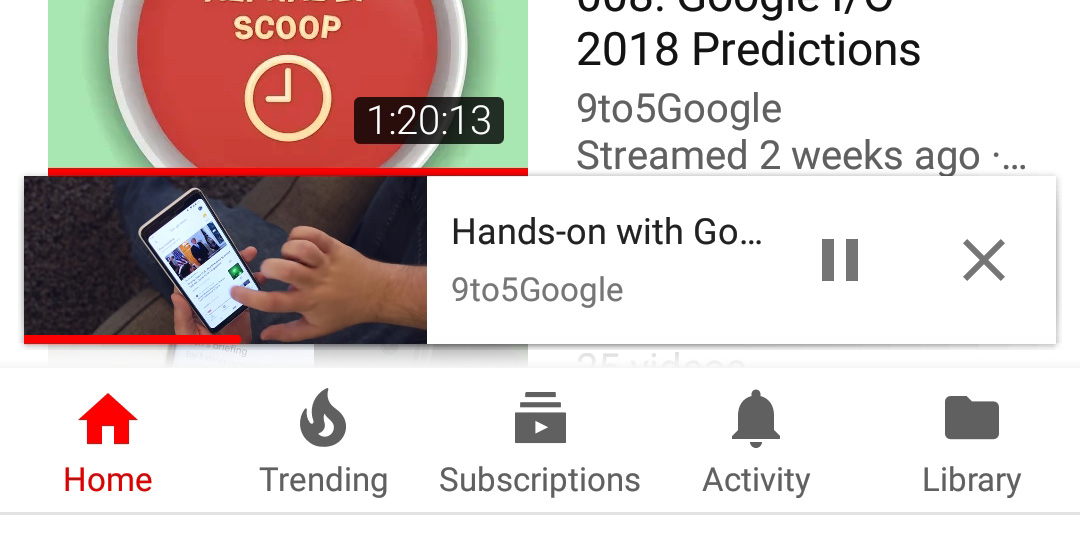 Youtube For Android Adopts Collapsed Video Mini Player From Ios App