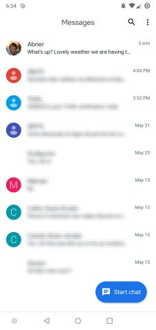 This is Android Messages' Google Material Theme redesign