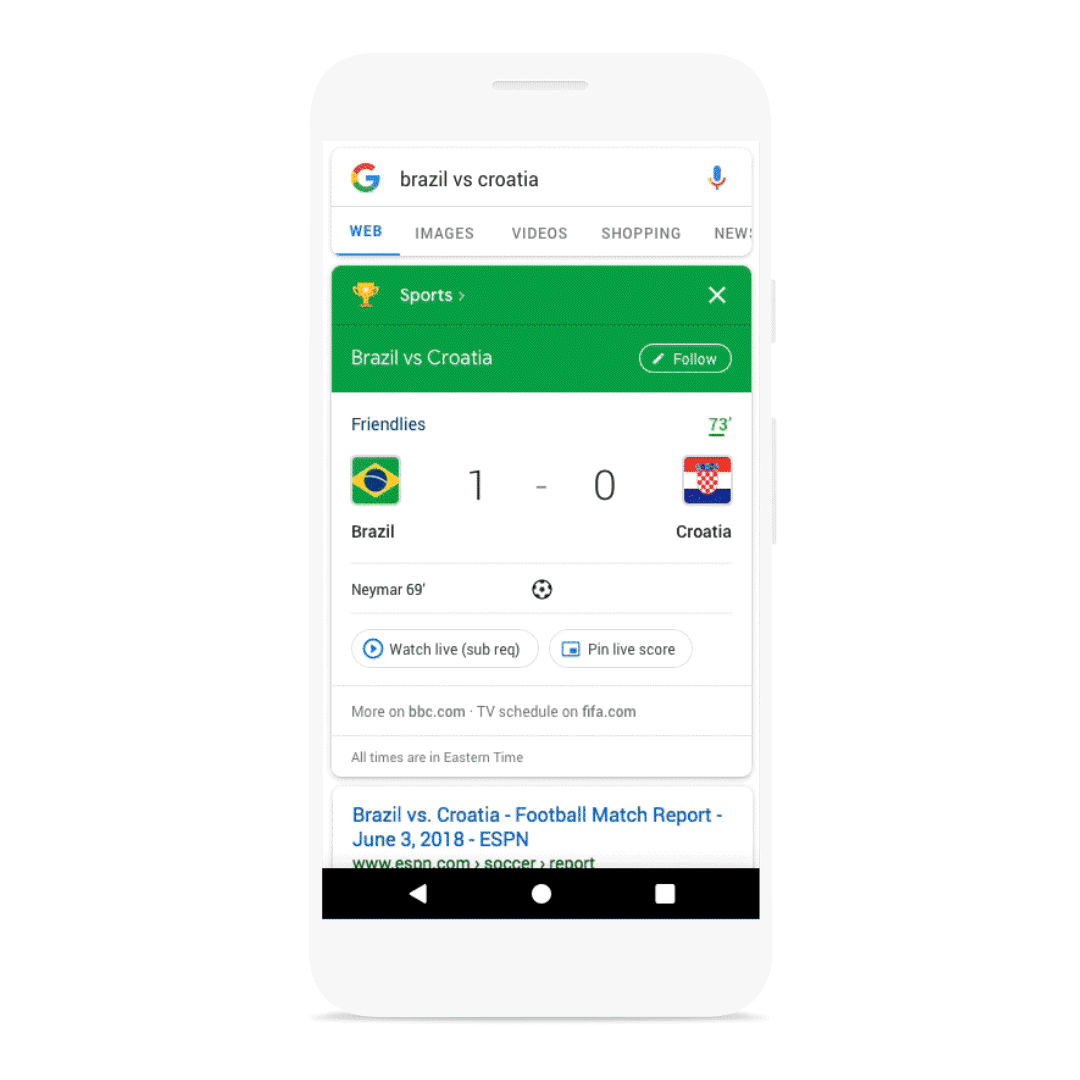 Google adds floating live scores on Android, new Search/News