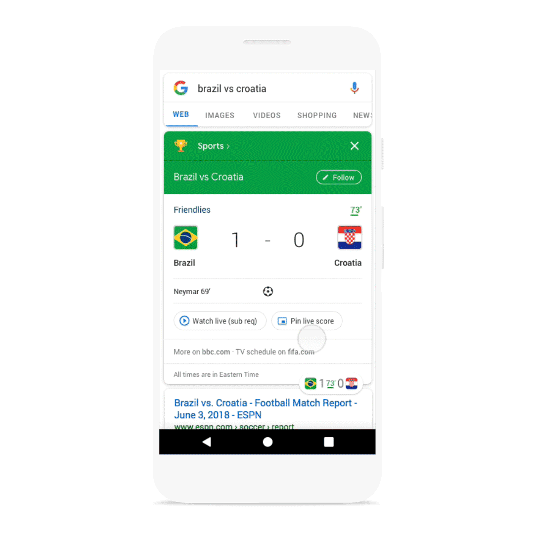 Google Adds Floating Live Scores On Android New Searchnews