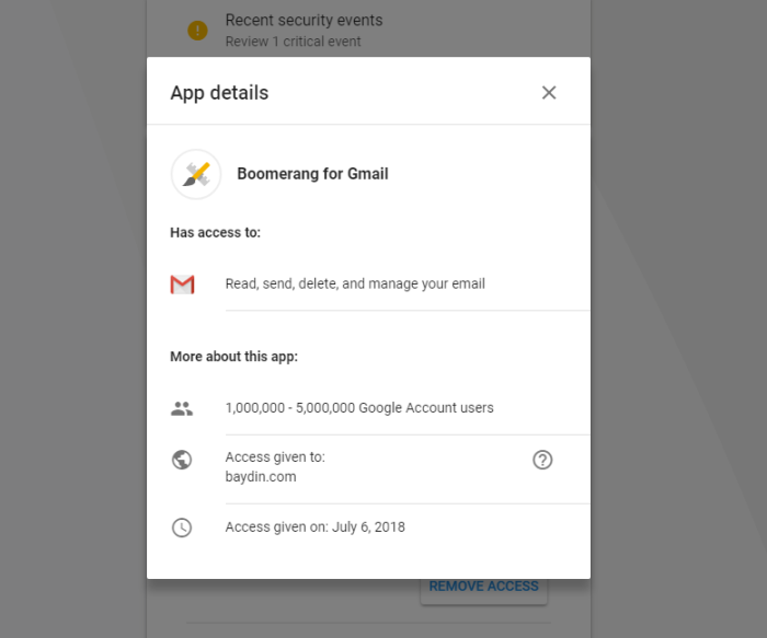 removing email from gmail app