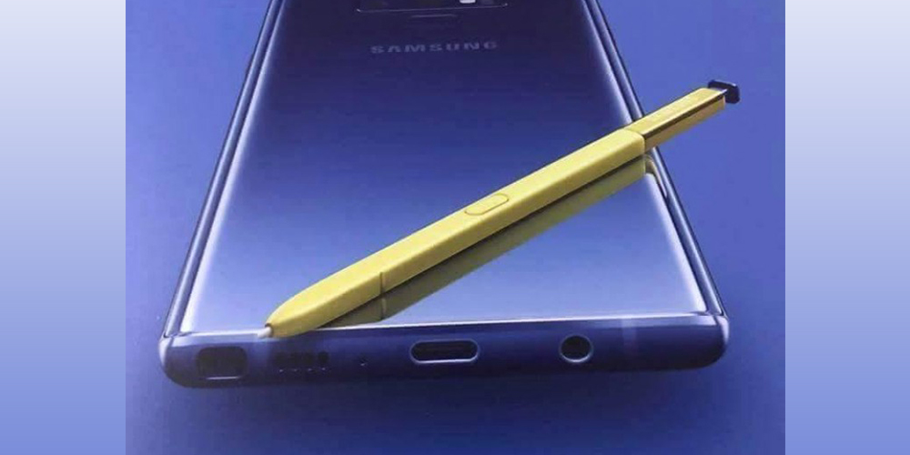 leaked galaxy note 9 poster confirms headphone jack shows off purple gold colorway