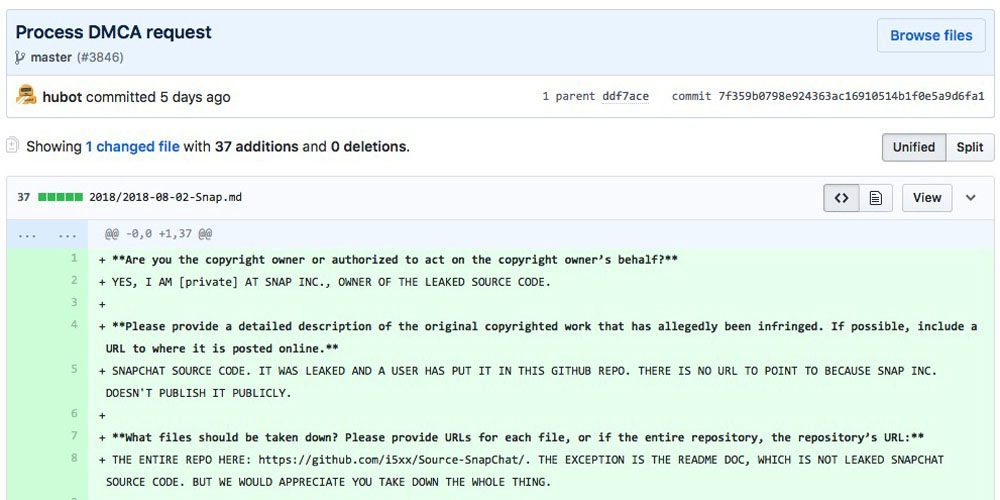 some snapchat source code leaked on github removed after all caps dcma takedown notice