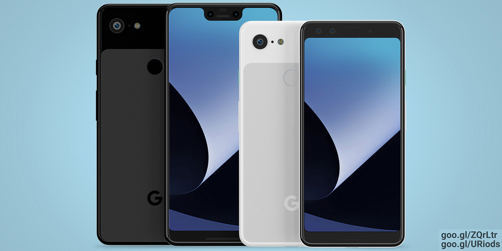 google pixel 3 and pixel 3 xl render