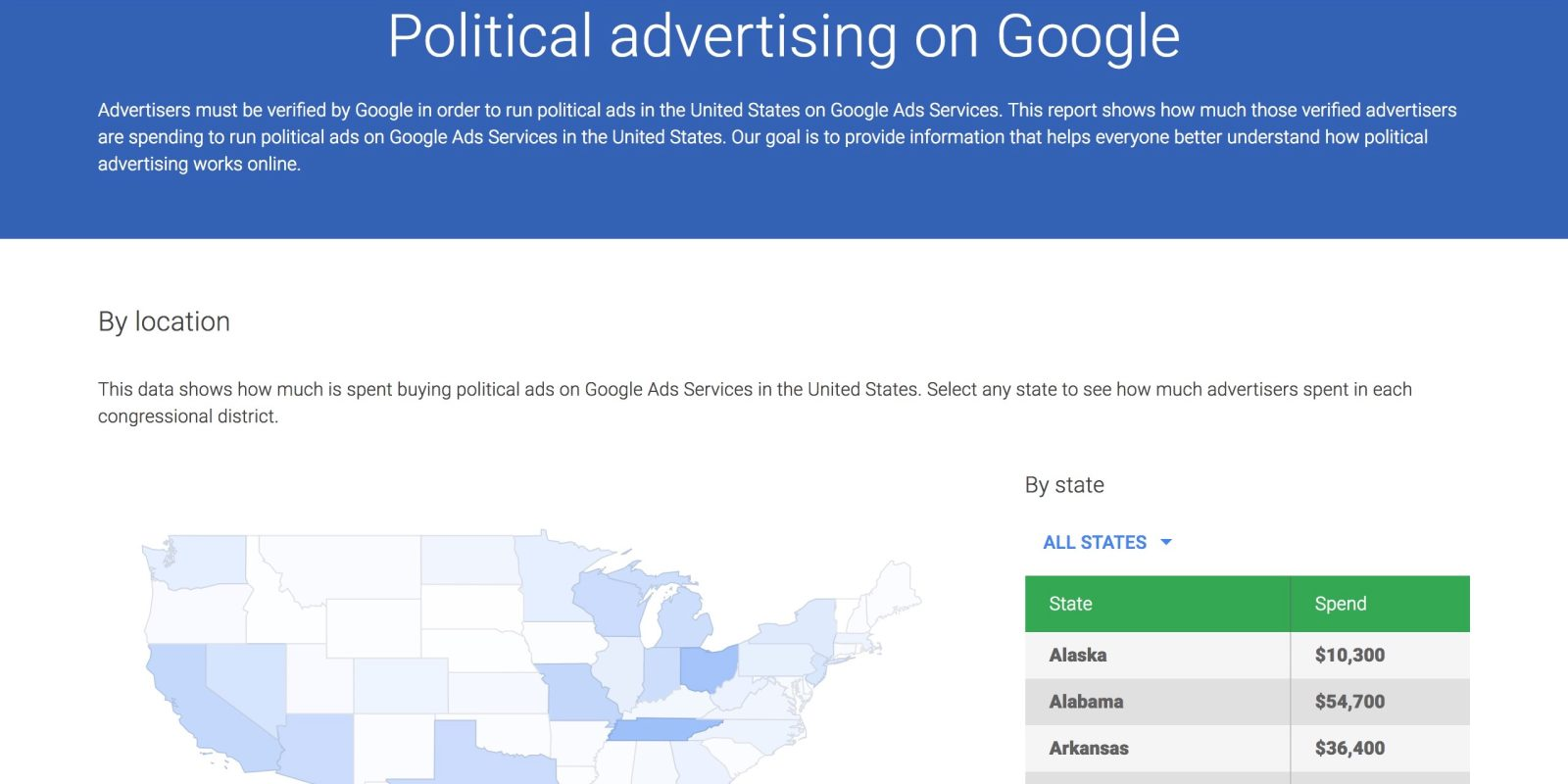 Google's Ad Library lists political advertising on Search